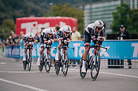 Team Sunweb led by Michael Matthews (AUS/Sunweb) rolling in<br /> <br /> UCI MEN'S TEAM TIME TRIAL<br /> Ötztal to Innsbruck: 62.8 km<br /> <br /> UCI 2018 Road World Championships<br /> Innsbruck - Tirol / Austria