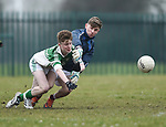 Cian Shannon of  Ennistymon CBS  in action against Ben Kirwan of  St Declan's Kilmacthomas during their Munster C Colleges football final at Rathkeale. Photograph by John Kelly.