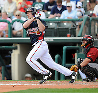 15 March 2009: Outfielder Matt Diaz (23) of the Atlanta Braves hits in a game against the Houston Astros at the Braves' Spring Training camp at Disney's Wide World of Sports in Lake Buena Vista, Fla. Photo by:  Tom Priddy/Four Seam Images