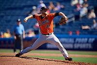 Baltimore Orioles relief pitcher David Hess (41) delivers a pitch during a Grapefruit League Spring Training game against the Philadelphia Phillies on February 28, 2019 at Spectrum Field in Clearwater, Florida.  Orioles tied the Phillies 5-5.  (Mike Janes/Four Seam Images)