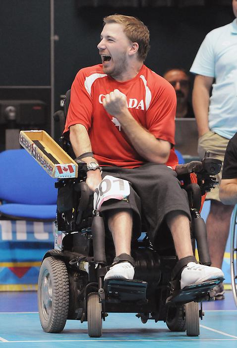 Adam Dukovich, Guadalajara 2011 - Boccia.<br /> Adam Dukovich celebrates after winning the Gold Medal in Boccia BC2 // Adam Dukovich célèbre après avoir remporté la médaille d'or en boccia BC2. 11/16/2011.