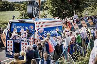 fans grabbing hats<br /> <br /> Stage 2 from Perros-Guirec to Mûr-de-Bretagne, Guerlédan (184km)<br /> 108th Tour de France 2021 (2.UWT)