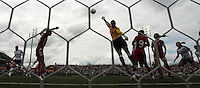 Canada's goalkeeper Karina Leblanc (1), ctr punches out a save. The U.S. Women's National Team defeated 1-0 in a friendly match at Marina Auto Stadium in Rochester, NY on July 19, 2009. Abby Wambach of the USWNT scored her 100th career goal in the second half..