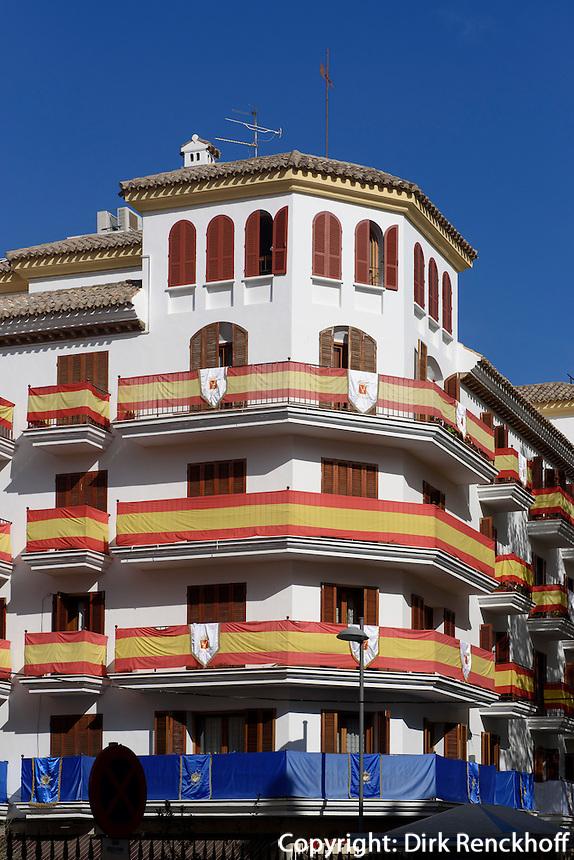 Geschmückte Häuser bei der Semana Santa (Karwoche)  in Lorca,  Provinz Murcia, Spanien, Europa