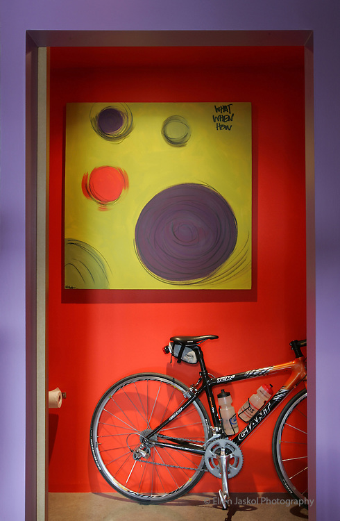 """Julie Boardman (cq) and Patti Dobrowolski's (cq) """"Crash Pad""""  in the Taxi II building.  The view is from the loft bedroom looking down into the living area.  Patti's own pastel painting graces the bright orange walls in the bathroom. Making use of every bit of space, she finds a handy place for parking her bicycle. Dec. 19, 2007.  (ELLEN JASKOL/ROCKY MOUNTAIN NEWS)   .Patti Dobrowolski (cq), Julie Boardman (Cq)"""