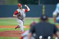 North Carolina State Wolfpack starting pitcher Brian Brown (38) in action against the North Carolina Tar Heels in Game Twelve of the 2017 ACC Baseball Championship at Louisville Slugger Field on May 26, 2017 in Louisville, Kentucky. The Tar Heels defeated the Wolfpack 12-4. (Brian Westerholt/Four Seam Images)