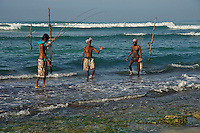 Traditional Still fishing Weligama, Sri Lanka