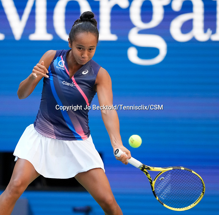September  7, 2021:  Leylah Fernandez (CAN) defeated Elina Svitolina (UKR) 3-6, 6-3, 7-6, at the US Open being played at Billy Jean King Ntional Tennis Center in Flushing, Queens, New York / USA  ©Jo Becktold/Tennisclix/CSM/CSM