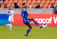 HOUSTON, TX - JANUARY 31: Kethna Louis #20 of Haiti controls the ball during a game between Haiti and Costa Rica at BBVA Stadium on January 31, 2020 in Houston, Texas.