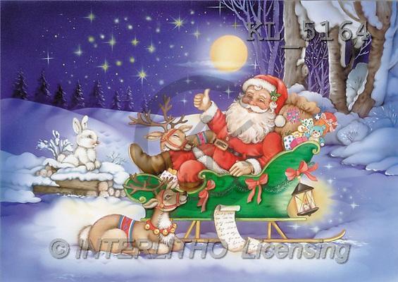 Interlitho, Michele, CHRISTMAS SANTA, SNOWMAN, paintings, santa, sleigh, deer(KL5164,#X#) Weihnachtsmänner, Schneemänner, Weihnachen, Papá Noel, muñecos de nieve, Navidad, illustrations, pinturas