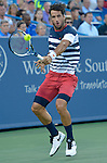 Feliciano Lopez (ESP) loses the first set to Rafael Nadal (ESP), losing 7-5 at the Western and Southern Open in Mason, OH on August 20, 2015.