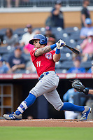 Christian Lopes (11) of the Buffalo Bisons follows through on his swing against the Durham Bulls at Durham Bulls Athletic Park on April 30, 2017 in Durham, North Carolina.  The Bisons defeated the Bulls 6-1.  (Brian Westerholt/Four Seam Images)