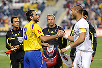 Mario Yepes (3) of Colombia (COL) and Oguchi Onyewu (5) of the United States (USA) shake hands after the coin toss. The men's national teams of the United States (USA) and Colombia (COL) played to a 0-0 tie during an international friendly at PPL Park in Chester, PA, on October 12, 2010.