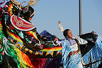 SAN JOSE, CA - AUGUST 24: Native American performance prior to a Major League Soccer (MLS) match between the San Jose Earthquakes and the Vancouver Whitecaps FC  on August 24, 2019 at Avaya Stadium in San Jose, California.