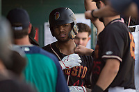 Modesto Nuts right fielder Gareth Morgan (44) receives high fives in the dugout after hitting a home run during a California League game against the San Jose Giants at John Thurman Field on May 9, 2018 in Modesto, California. San Jose defeated Modesto 9-5. (Zachary Lucy/Four Seam Images)