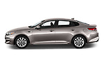 Car Driver side profile view of a 2018 KIA Optima LX 4 Door Sedan Side View