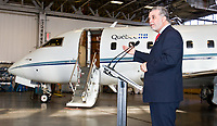 Quebec City, January 24, 2008 - Quebec Minister for Health and Social Services Philippe Couillard speaks to the media in front of the Quebec Premier plane, a Challenger CL-601 also used as a backup plane for the …vacuations aÈromÈdicales du QuÈbec (EVAQ) as an air-ambulance. Couillard announced in that the Government of Quebec will buy two new planes for the EVAQ service<br /> <br /> PHOTO :  Francis Vachon - Agence Quebec Presse