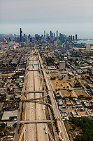 aerial photograph Interstate I 90 skyline Chicago, Illinois