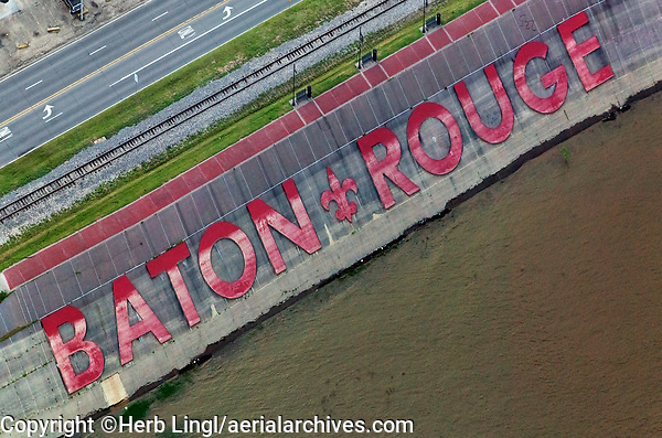 aerial photograph of the Mississippi River Baton Rouge levee at downtown Baton Route,  Louisiana