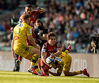 22nd May 2021; Twickenham, London, England; European Rugby Champions Cup Final, La Rochelle versus Toulouse; Antoine Dupont of Toulouse is tackled by Dillyn Leyds of La Rochelle