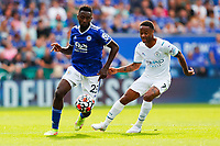 11th September 2021; King Power Stadium, Leicester, Leicestershire, England;  Premier League Football, Leicester City versus Manchester City; Wilfred Ndidi of Leicester City is shadowed by Raheem Sterling of Manchester City