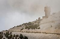 peloton coming down the Mont Ventoux<br /> <br /> Stage 11 from Sorgues to Malaucène (199km) running twice over the infamous Mont Ventoux<br /> 108th Tour de France 2021 (2.UWT)<br /> <br /> ©kramon