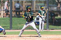 Oakland Athletics catcher Cesare Astorri (12) at bat during an Instructional League game against the Los Angeles Dodgers at Camelback Ranch on September 27, 2018 in Glendale, Arizona. (Zachary Lucy/Four Seam Images)