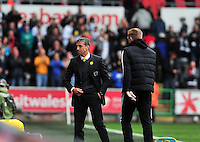 Swansea v Norwich, Liberty stadium Swansea, Saturday 29th March 2014<br /> <br /> Photographs by Amy Husband<br /> <br /> Swansea manager Garry Monk and Norwich City manager Chris Hughton.