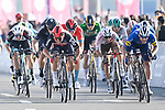 Caleb Ewan (AUS) Lotto-Soudal outsprints Sam Bennett (IRL) Deceuninck-Quick Step to win Stage 7 of the 2021 UAE Tour running 165km from Yas Island to Abu Dhabi Breakwater, Abu Dhabi, UAE. 27th February 2021.<br /> Picture: LaPresse/Fabio Ferrari   Cyclefile<br /> <br /> All photos usage must carry mandatory copyright credit (© Cyclefile   LaPresse/Fabio Ferrari)