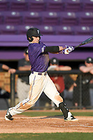 Shortstop Brett Huebner (3) of the Furman Paladins bats in game two of a doubleheader against the Harvard Crimson on Friday, March 16, 2018, at Latham Baseball Stadium on the Furman University campus in Greenville, South Carolina. Furman won, 7-6. (Tom Priddy/Four Seam Images)