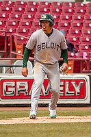 Beloit Snappers infielder Edwin Diaz (12) leads off third during a Midwest League game against the Wisconsin Timber Rattlers on April 10th, 2016 at Fox Cities Stadium in Appleton, Wisconsin.  Wisconsin defeated Beloit  4-2. (Brad Krause/Four Seam Images)