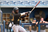 FCL Pirates Black Deion Walker (24) bats during a game against the FCL Rays on August 3, 2021 at Charlotte Sports Park in Port Charlotte, Florida.  (Mike Janes/Four Seam Images)