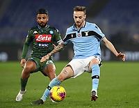 Football, Serie A: S.S. Lazio - Napoli, Olympic stadium, Rome, January 11, 2020.<br /> Lazio's Manuel Lazzari (r) in action with Napoli's Lorenzo Insigne (l) during the Italian Serie A football match between S.S. Lazio and Napoli at Rome's Olympic stadium, Rome , on January 11, 2020.<br /> UPDATE IMAGES PRESS/Isabella Bonotto