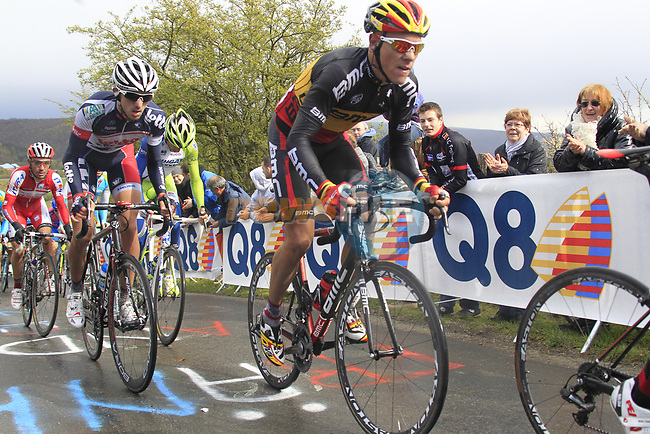 Belgian National Champion Philippe Gilbert (BEL) BMC Racing Team with Jelle Vanendert (BEL) Lotto-Belisol Team and Vincenzo Nibali (ITA) Liquigas-Cannondale lead the peloton up the Cote de la Redoute during the 98th edition of Liege-Bastogne-Liege, running 257.5km from Liege to Ans, Belgium. 22nd April 2012.  <br /> (Photo by Eoin Clarke/NEWSFILE).