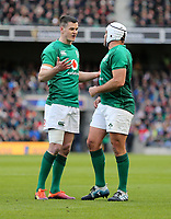 Sunday10th March 2019 | Ireland vs France<br /> <br /> Jonathan Sexton and Rory Best in deep discussion during  the Guinness 6 Nations clash between Ireland and France at the Aviva Stadium, Lansdowne Road, Dublin, Ireland. Photo by John Dickson / DICKSONDIGITAL