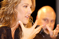 September 26. 2002, Montreal, Quebec, Canada; <br /> <br /> Celine Dion in a press conference after she  unveilled her Bronze Star at the Pepsi Forum's Walk of Fame, September 26 2002, Montreal, CANADA.