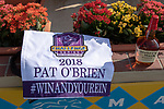 """DEL MAR, CA  AUGUST 25:  The Breeders' Cup Challenge saddle towel, Maker's Mark and BC2018 caps for the Pat O'Brien Stakes (Grade ll), Breeders' Cup """"Win and You're In Dirt Mile Division"""" on August 25, 2018 at Del Mar Thoroughbred Club in Del Mar, CA.(Photo by Casey Phillips/Eclipse Sportswire/Getty ImagesGetty Images"""
