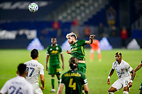 CARSON, CA - OCTOBER 07: Cristhian Paredes #22 of the Portland Timbers with a head ball during a game between Portland Timbers and Los Angeles Galaxy at Dignity Heath Sports Park on October 07, 2020 in Carson, California.