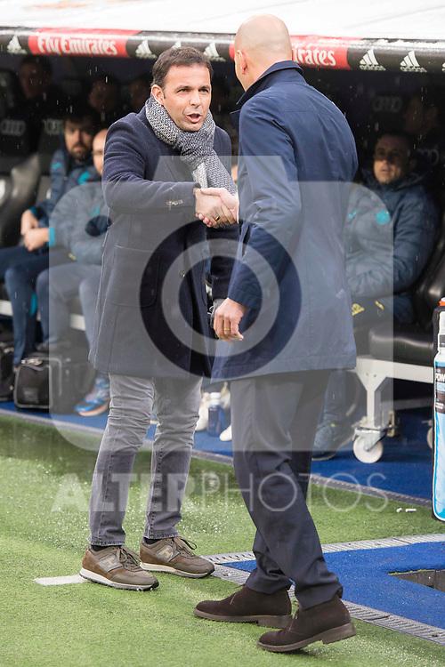 Real Madrid coach Zinedine Zidane and Villarreal coach Javi Calleja during La Liga match between Real Madrid and Villarreal CF at Santiago Bernabeu in Madrid, Spain. January 13, 2018. (ALTERPHOTOS/Borja B.Hojas)