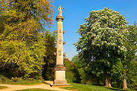 A Neo Classic column in the  English gardens  designed by Capability Brown.  Buckingham, England