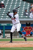 Indianapolis Indians shortstop Alfredo Reyes (3) during an International League game against the Columbus Clippers on April 30, 2019 at Victory Field in Indianapolis, Indiana. Columbus defeated Indianapolis 7-6. (Zachary Lucy/Four Seam Images)