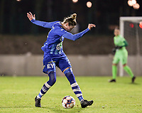 Heleen Jaques (4) of AA Gent gives a pass during a female soccer game between FC Femina White Star Woluwe and AA Gent Ladies on the 13 th matchday of the 2020 - 2021 season of Belgian Scooore Womens Super League , friday 5 th of February 2021  in Woluwe , Belgium . PHOTO SPORTPIX.BE | SPP | SEVIL OKTEM