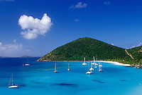 Jost Van Dyke, British Virgin Islands, Caribbean, BVI, View of boats anchored in White Bay on Jost Van Dyke Island on the Caribbean Sea.