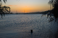 Honduras, Roatan Island, Fantasy Island Resort, Caribbean. Sunset on the ocean.