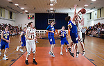 PLYMOUTH, CT--03 January 08--010308TJ05 - Terryville's Jason Pranulis (30), at right, puts up a shot against Housatonic's Zach Williams (25) during Terryville High School's 68-30 victory over Housatonic Valley Regional High School in the last boys game in Terryville's old gym on Thursday, January 3, 2008. T.J. Kirkpatrick/Republican-American
