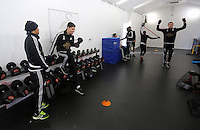 Pictured L-R: Jefferson Montero, federico Fernandez and Gylfi Sigurdsson (R) in the gym Wednesday 10 February 2016<br /> Re: Swansea City FC training at the club's Fairwood Training Ground in the outskirts of Swansea, south Wales, UK.