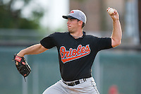Relief pitcher Robert Holloway #29 of the Bluefield Orioles in action versus the Johnson City Cardinals at Howard Johnson Field August 1, 2009 in Johnson City, Tennessee. (Photo by Brian Westerholt / Four Seam Images)