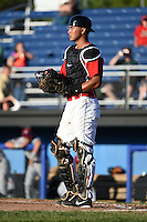 Batavia Muckdogs catcher Brad Haynal (23) during a game against the Mahoning Valley Scrappers on June 21, 2014 at Dwyer Stadium in Batavia, New York.  Batavia defeated Mahoning Valley 10-6.  (Mike Janes/Four Seam Images)