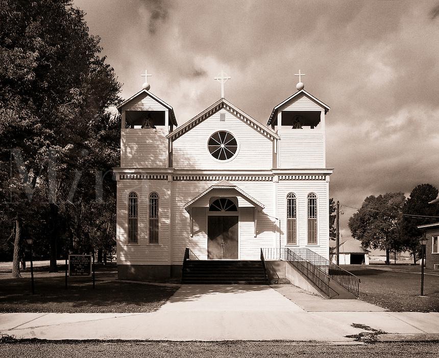 The exterior facade of a church.