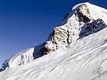 CHE, Schweiz, Kanton Bern, Berner Oberland, Grindelwald: Blick vom Jungfraujoch - Top of Europe - auf den Moench 4.107 m - mit Gletscherzunge | CHE, Switzerland, Bern Canton, Bernese Oberland, Grindelwald: view from Jungfraujoch - Top of Europe - at Moench mountain 13.475 ft. - glacier tongue